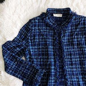ST. JOHN navy blue+teal tweed blazer with pockets
